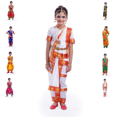 Bharatnatyam Dress with Heavy Jewellery Combo - 10 Ornaments
