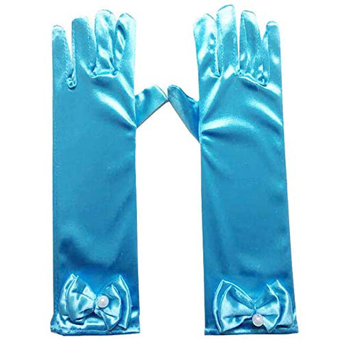 Satin Gloves Princess Dress Up Bows Gloves Long Gloves for Party(Blue)
