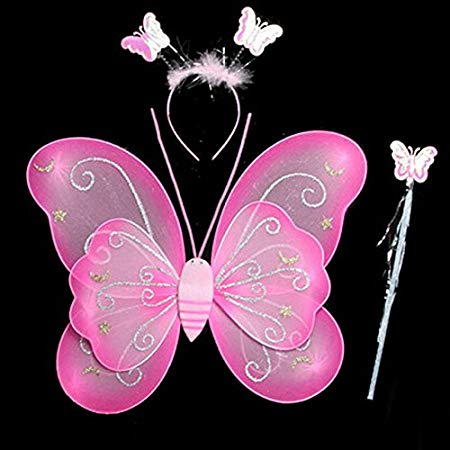 Girls Butterfly Fairy Angel Wing, Wand And Hairband (pink)