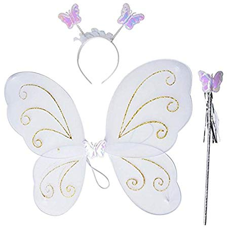 Girls Butterfly Fairy Angel Wing, Wand and Hairband for Baby Kid Birthday Party (White)