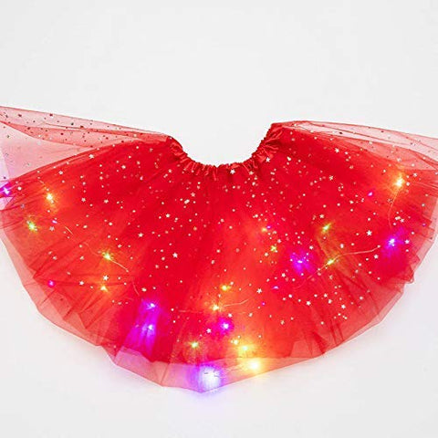 Christmas T_Shirt and Tutu Led Skirt with X-Mas Santa Cap Christmas Party Dress for Girls
