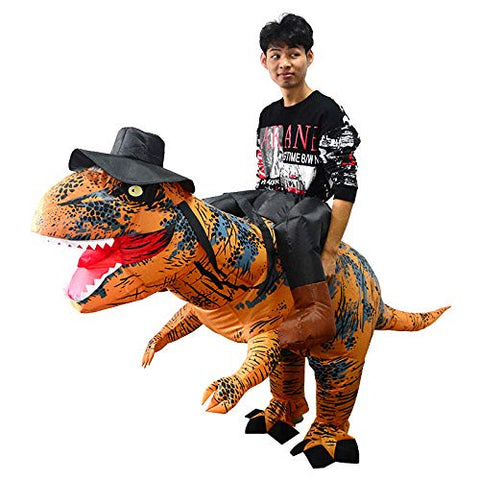 FancyDressWale Holiday Party Dinosaur Inflatable Half-Length Walking Tyrannosaurus Costume Brown