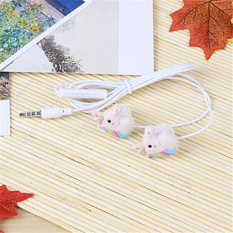 Cartoon Earphone 3D Cute Animal Unicorn Earbuds Headphones suitable to Remote and Mic for Apple Samsung HTC Android smartphones Tablets hands-free/in-ear style earbuds of Electronics Wired 3.5 mm