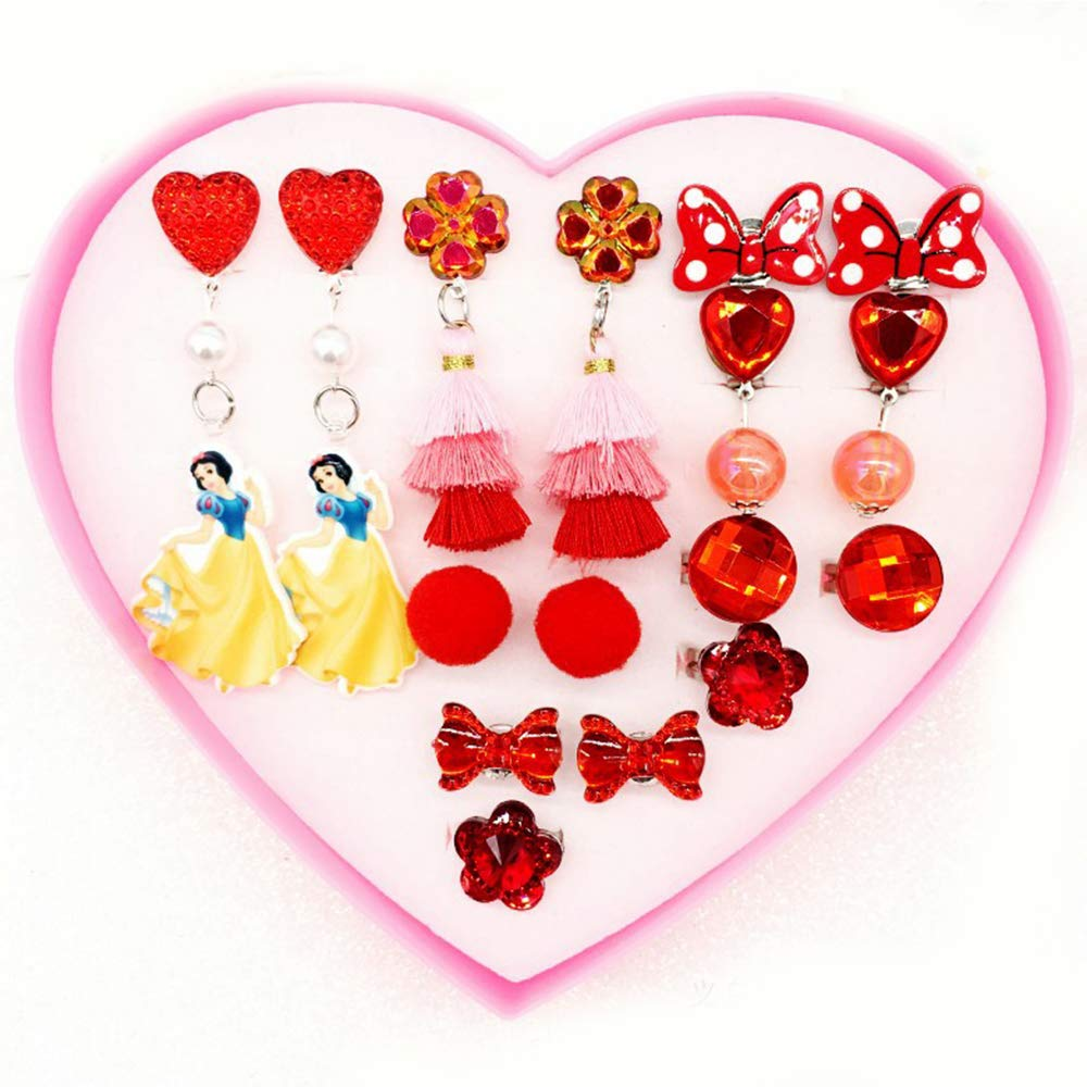 Princess Jewelry Set Dress up and Accessories in Heart Shaped Pink Box - Snowwhite