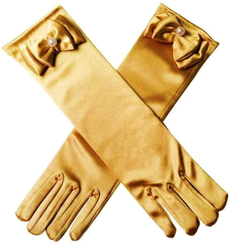 Satin Gloves Princess Dress Up Bows Gloves Long Gloves for Party(Golden)