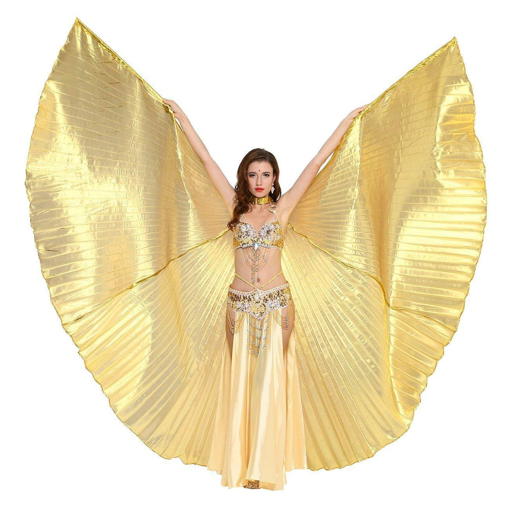 Opening Belly Dance Isis Wings Dancing Props with Sticks Rods-Golden