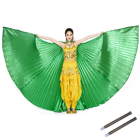 Opening Belly Dance Isis Wings Dancing Props with Sticks Rods-Green