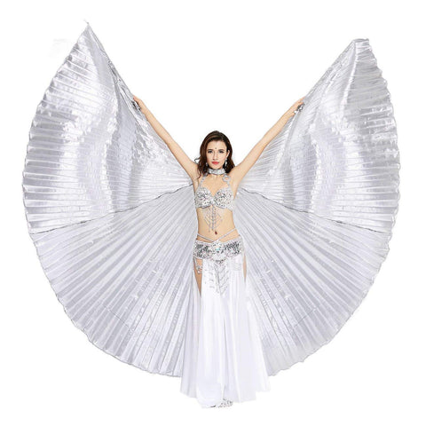 Opening Belly Dance Isis Wings Dancing Props with Sticks Rods-Silver