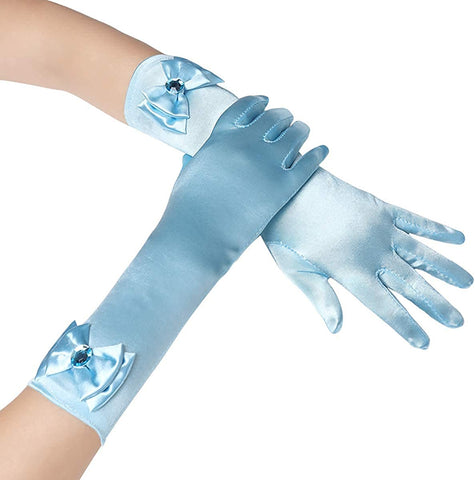 Satin Gloves Princess Dress Up Bows Gloves Long Gloves for Party(Light Blue)