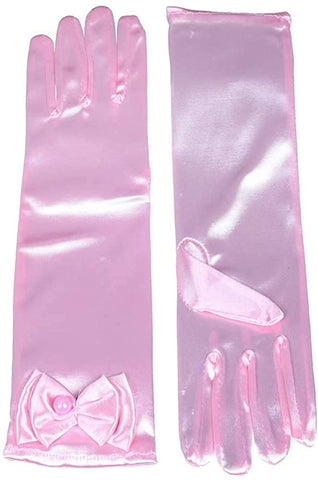 Satin Gloves Princess Dress Up Bows Gloves Long Gloves for Party(Pink)