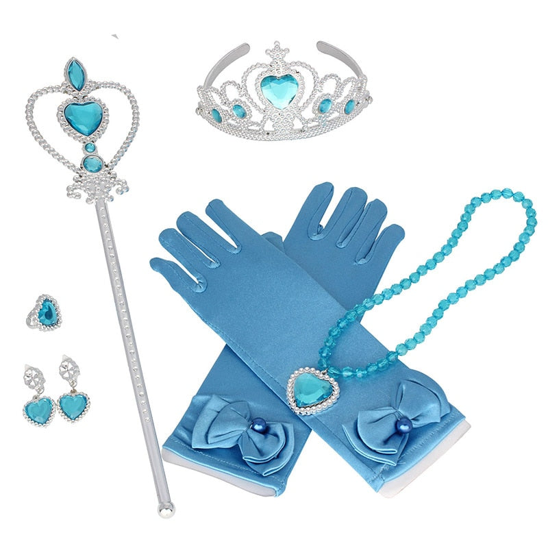 princess elsa and Anna for frozen Gloves Heart Wand Earrings Ring Set girls gift