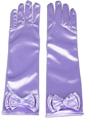 Satin Gloves Princess Dress Up Bows Gloves Long Gloves for Party(Purple)