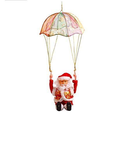 Christmas Santa Claus Electric Musical Parachute Plush Toy Hanging Decoration