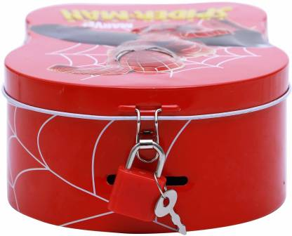 Cartoon Character SpiderMan Metal Body Piggy Bank|Saving Money Box for Kids with Lock and Key