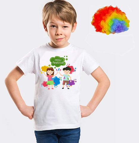Holi Shirts for Boys with Multicolor Holi Wig