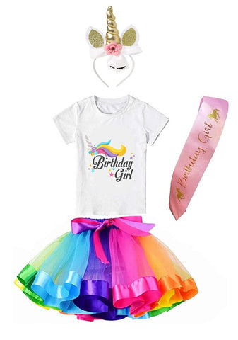 Unicorn Brthday Princess Costume Set- Tutu Multicolor Skirt, Assorted Headband, T-Shirt and Sash