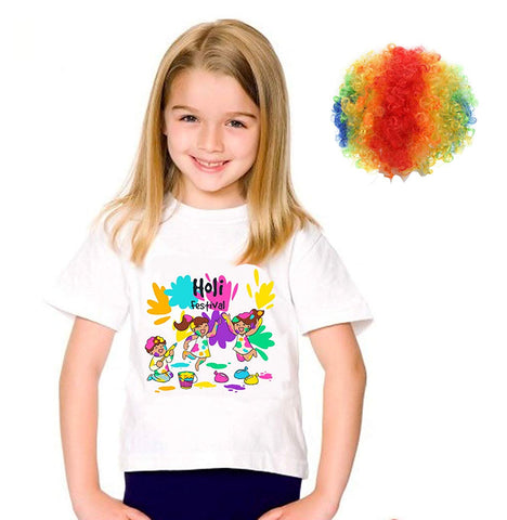 Holi Shirts for Girls with Multicolor Holi Wig
