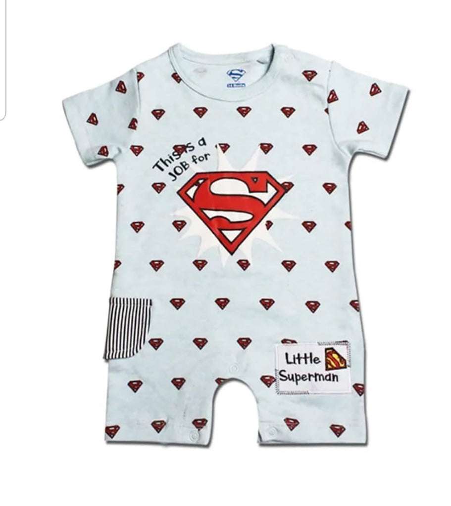 Fancydresswale Superman Theme Light Blue Romper for Infants and Newborns