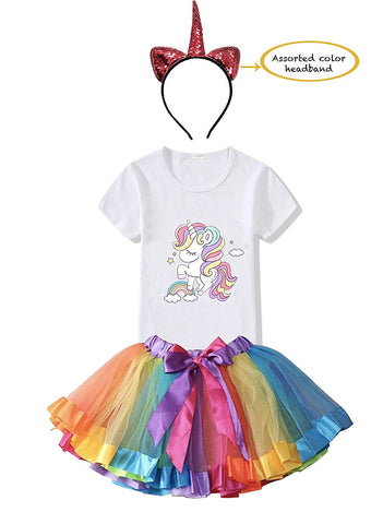 FancyDressWale Unicorn Birthday Princess Dress for Girls Tutu Skirt, T-Shirt and Assorted Head Band