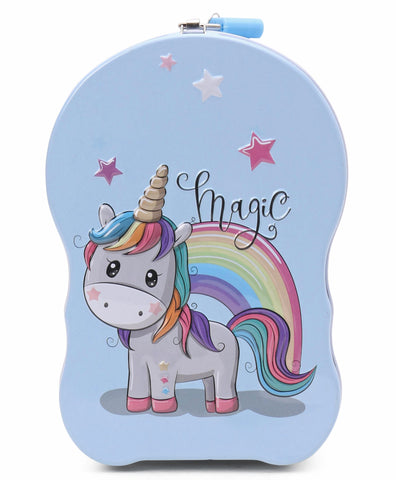 Unicorn Metal Body Piggy Bank Saving Money Box for Kids with Lock and Key