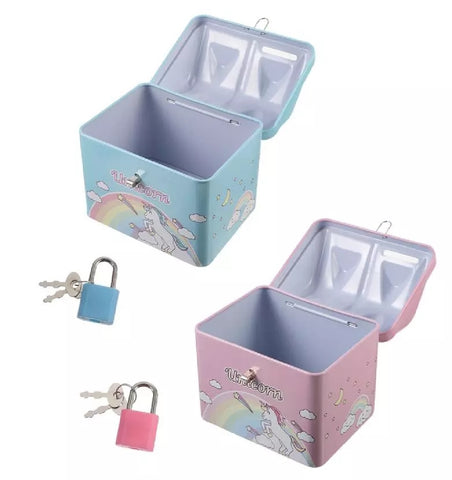 Unicorn Coin Bank Creative Exquisite Durable Storage Pot Piggy Bank Money Box with Lock and Key in Assorted Colour for Kids Bedroom Gift