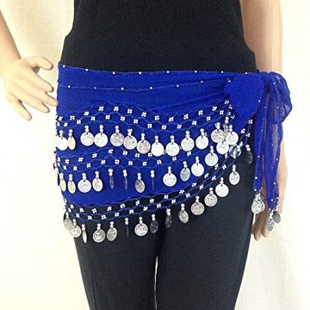Belly Dance Hip Scarf Waist Belt with Gold Coins for Women and Girls
