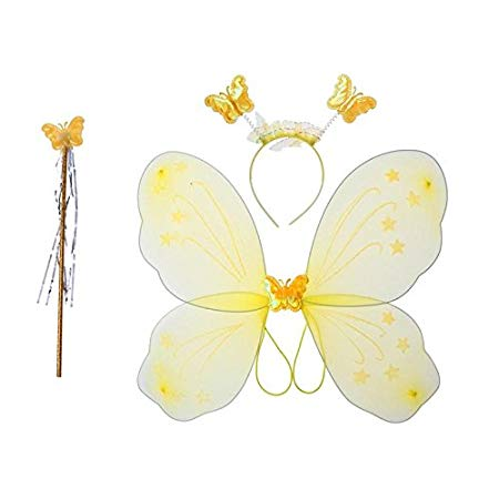Girls Butterfly Fairy Angel Wing, Wand and Hairband for Baby Kid Birthday Party (Yellow)