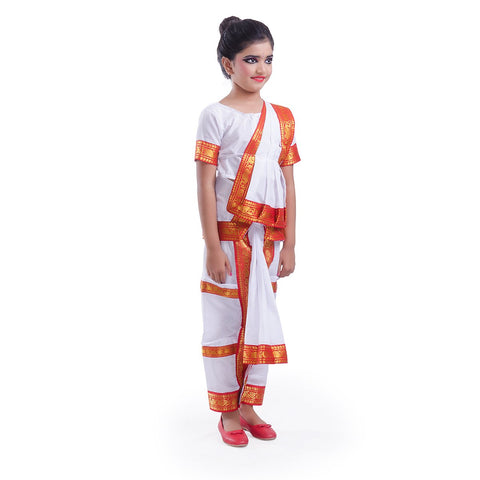 Bharatnatyam Costume for Girls with Light Bharatnatyam Jewellery