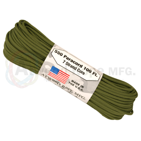 Atwood 550 lbs paracord - 100 ft (Olive Green) PC100