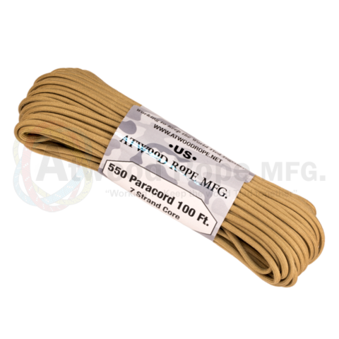 Atwood 550 lbs paracord - 100 ft (Tan) PC100