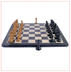 "Antique Warrior 4"" Chess Set in antiqued box wood and ebony wood"