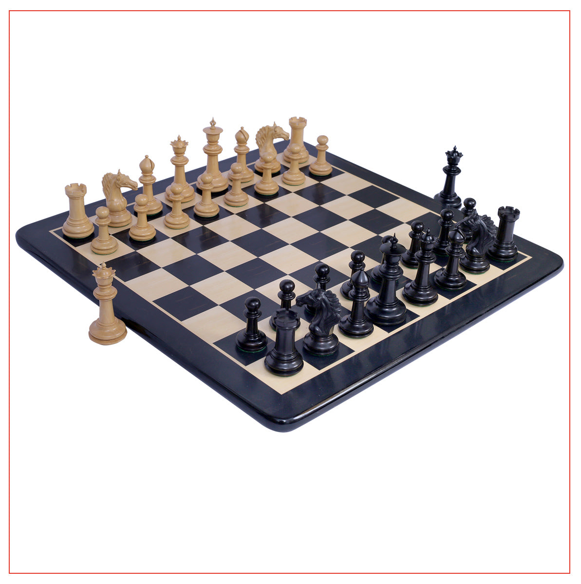 "Mecadon Series 4.4"" Ebony Wood Staunton Chess Set"
