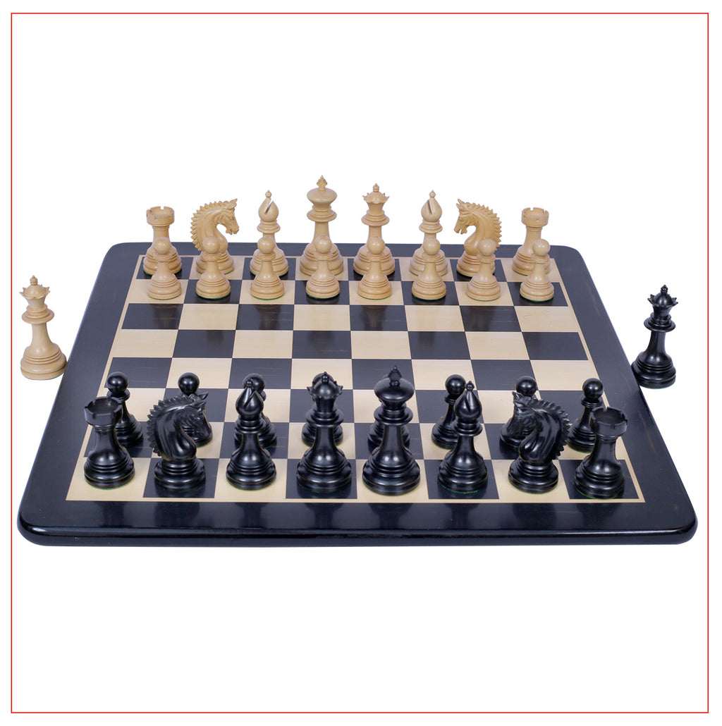 "Miletus Series 4"" Ebony Wood Staunton Chess Set"