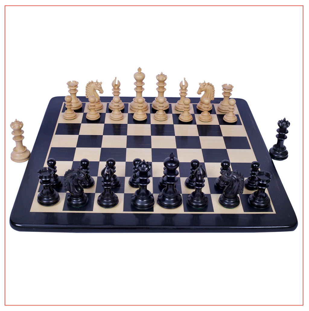 "Ostia Series 4.4"" Ebony Wood Staunton Chess Set"