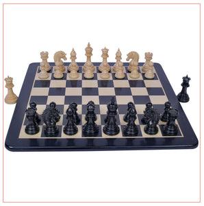 "Thebes Series 4.4"" Ebony Wood Staunton Chess Set"