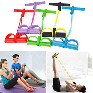 4-Tube Foot Pedal Resistance Band Elastic Pull Rope Fitness Equipment【70% Off Today】