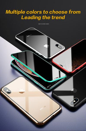 Anti-Peeping Privacy Magnetic Adsorption Two Side Tempered Glass Phone Case For iPhone