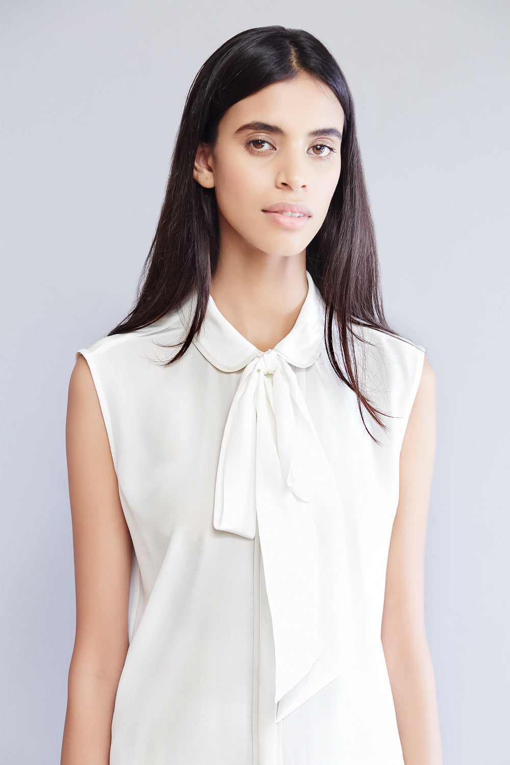 Sleeveless Silk Bow Tie Blouse