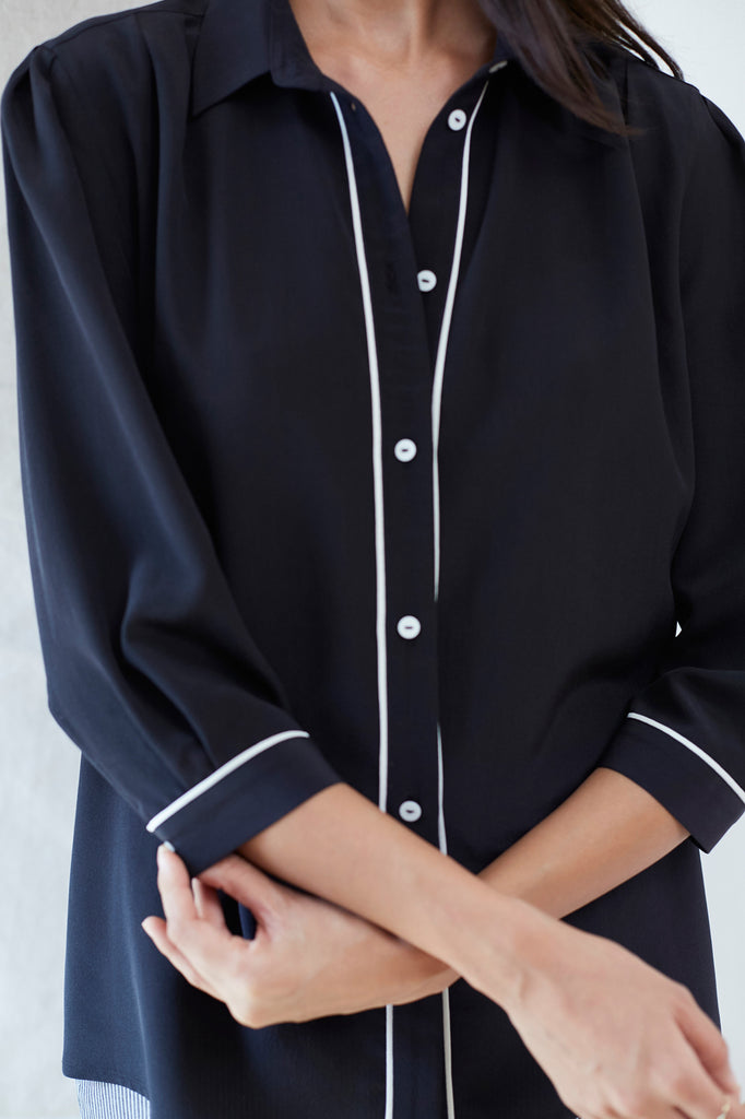 Pleat Front Silk Blouse