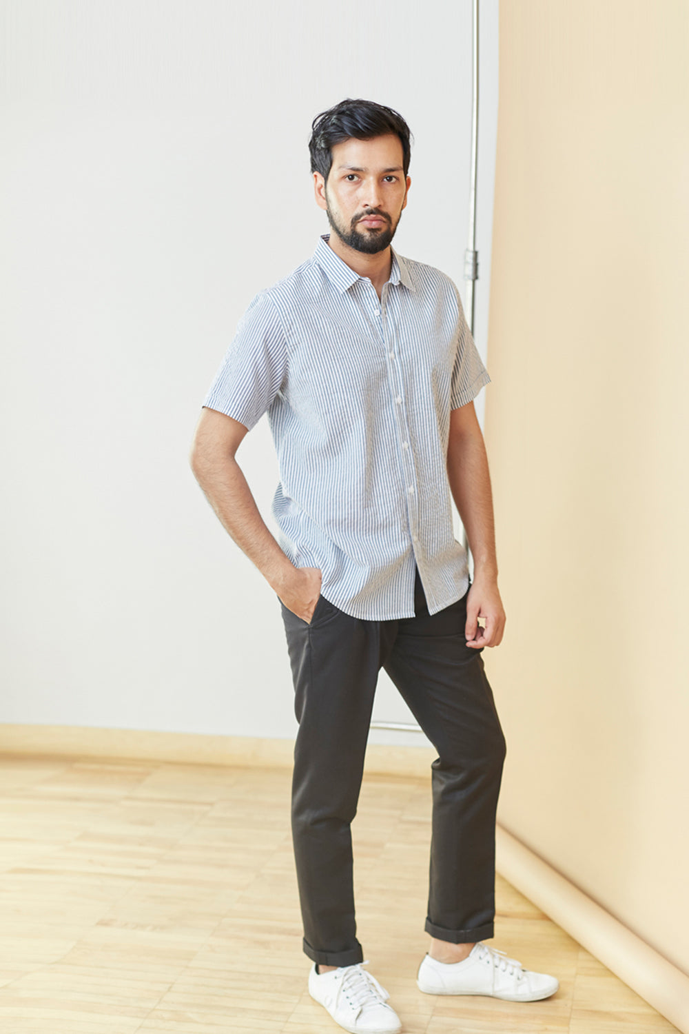 Striped Cotton Short Sleeve Shirt