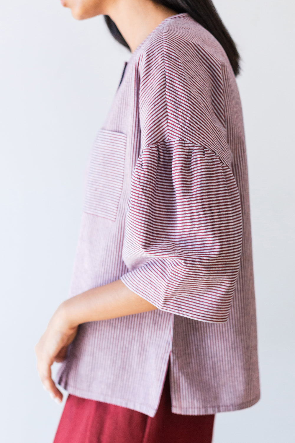 Striped Gathered Sleeve Top