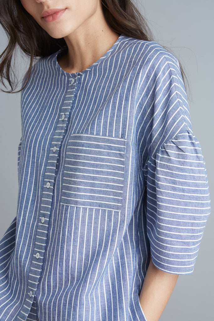 Nautical Stripe Gathered Sleeve Top