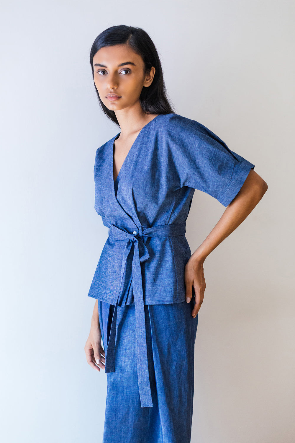 Lake Blue Belted Wrap Blouse