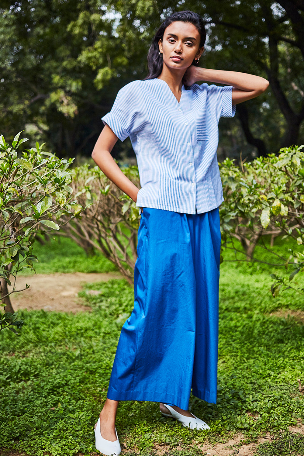 Roll Up Sleeve Top - Blue