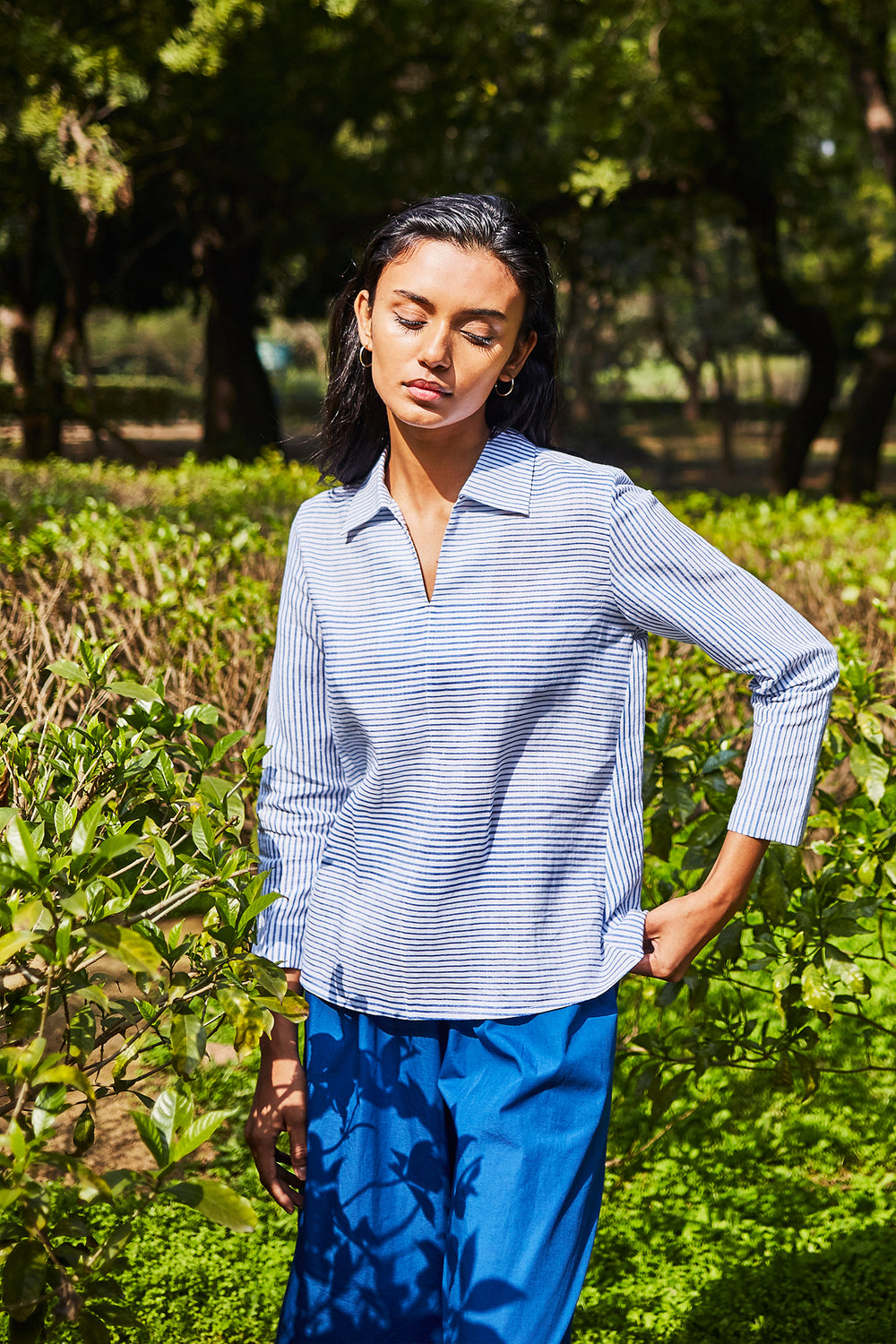 Striped Popover Shirt - Blue