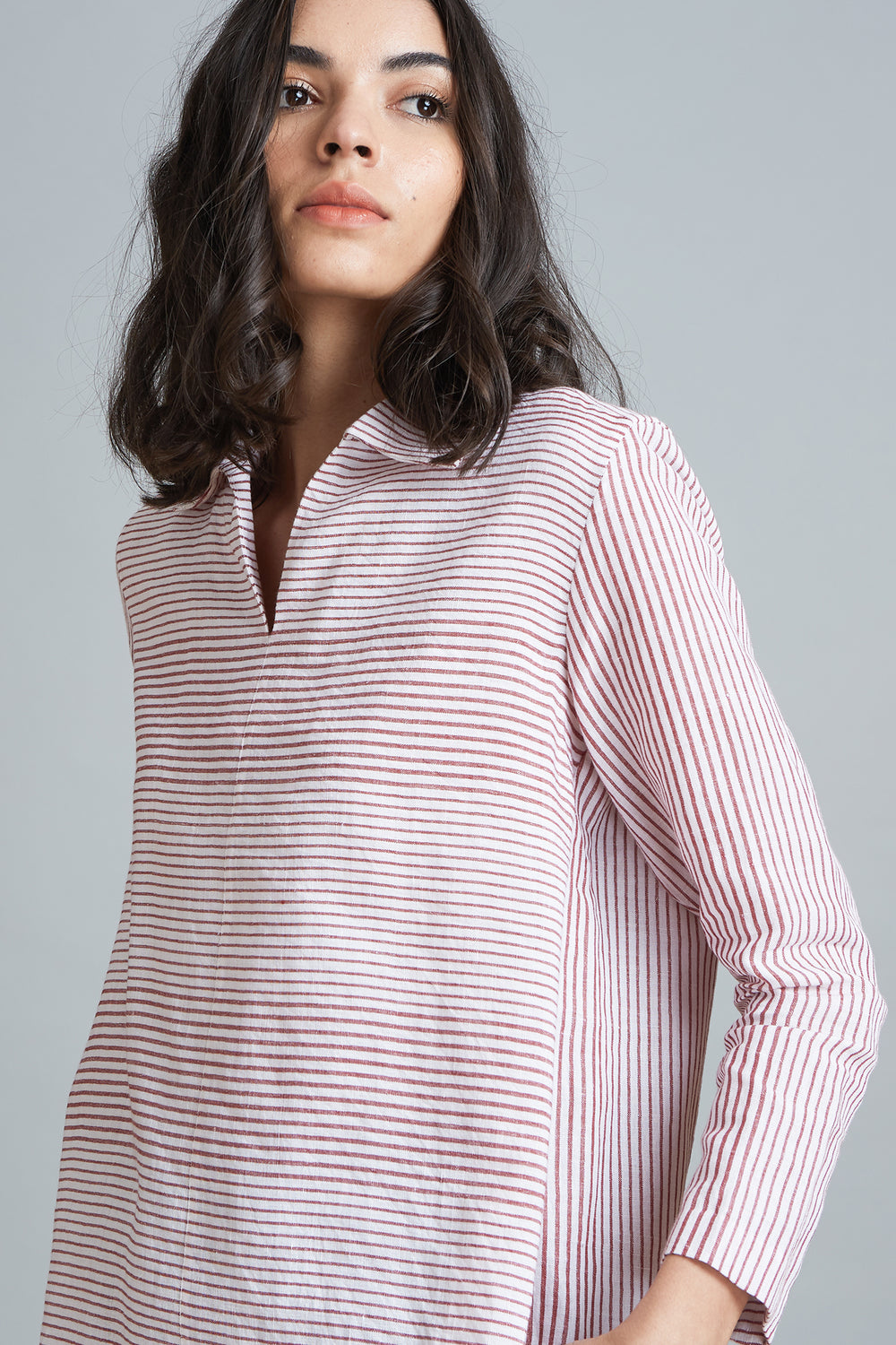 Striped Popover Shirt - Red