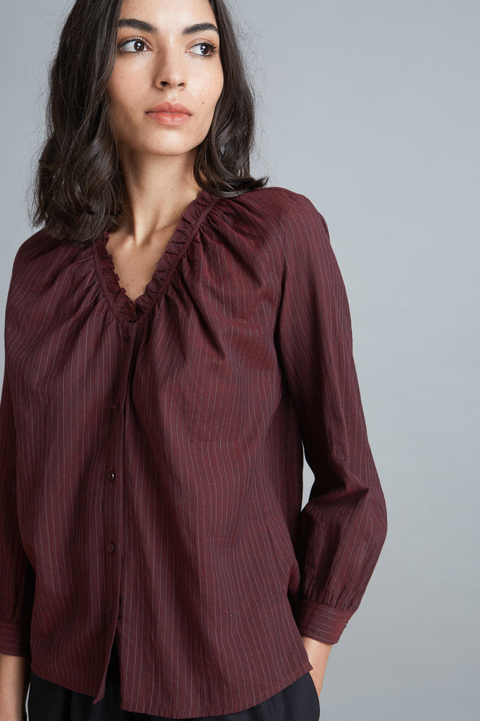 Ruffle Neck Top - Burgundy