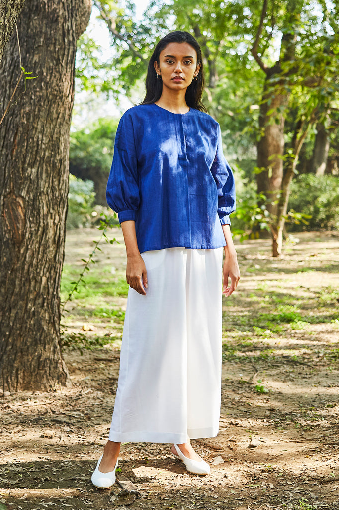 Blue Khadi Cotton Shirt