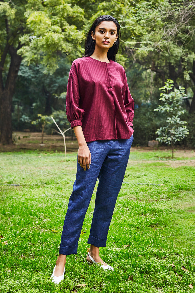 Burgundy Khadi Cotton Shirt