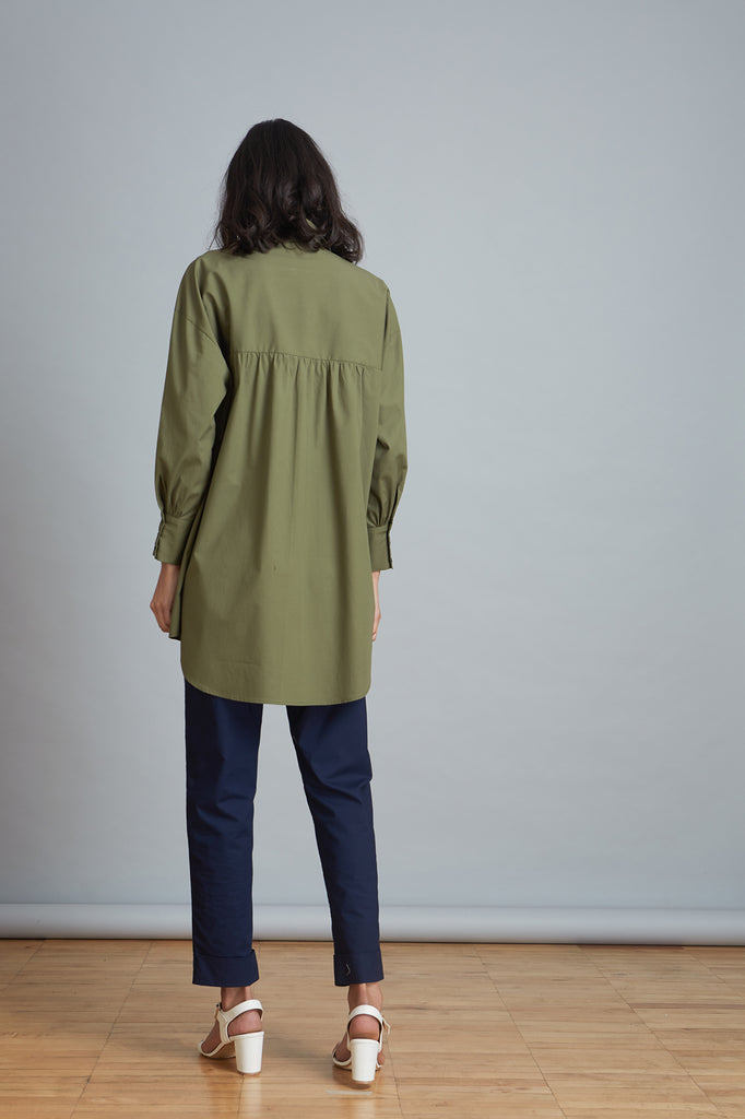 Gathered Sleeve Relaxed Shirt